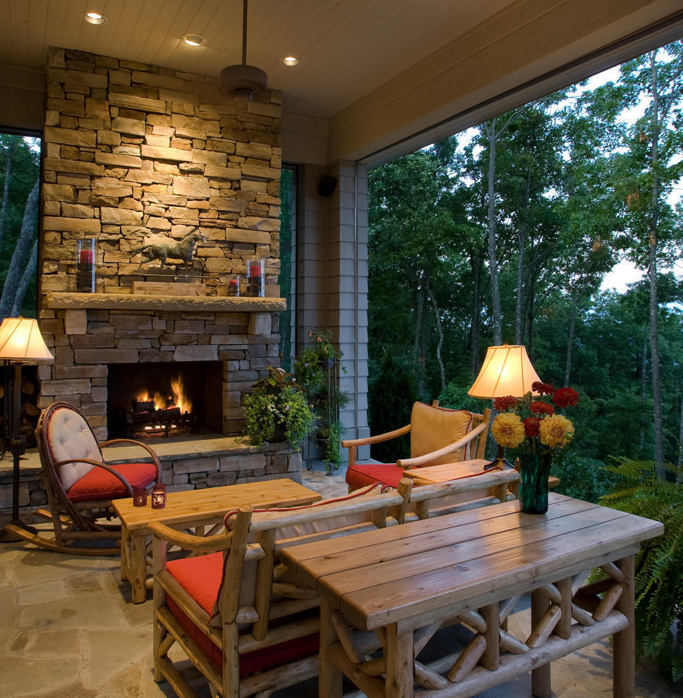 Stone Fireplace For Outdoor Family Room (Image 9 of 12)