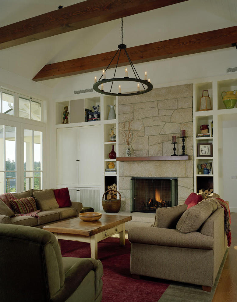 Traditional Living Room With Granite Stone Fireplace (View 2 of 12)
