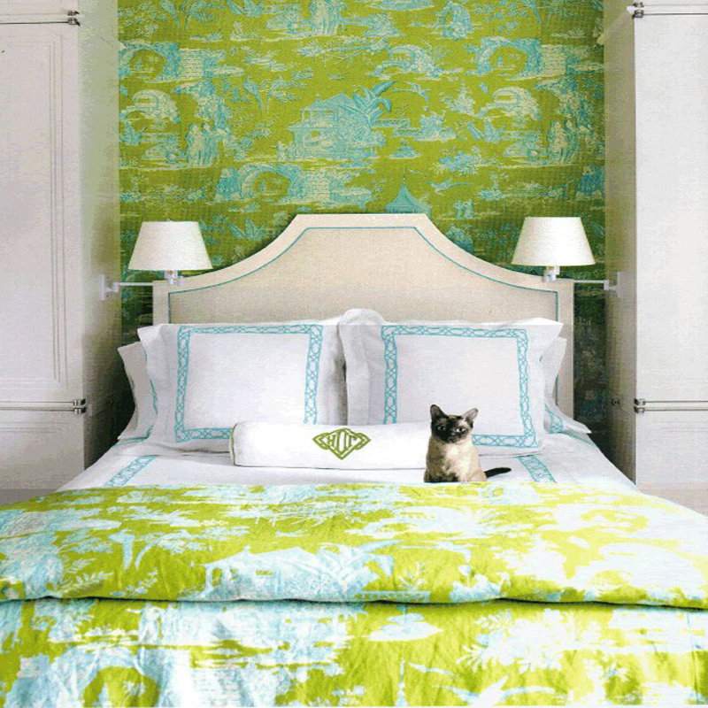 Featured Image of Cute And Fresh Fabric Bedroom With Green Color