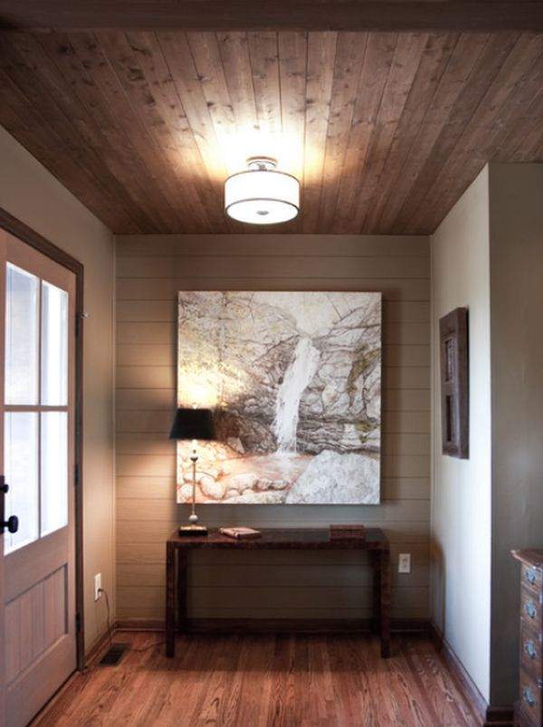 Featured Image of Linear Wood Covered Ceiling For Living Room