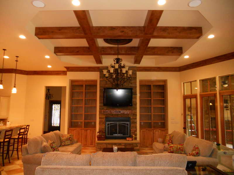 Featured Image of Wood Grid Ceiling Ideas For Contemporary Living Room