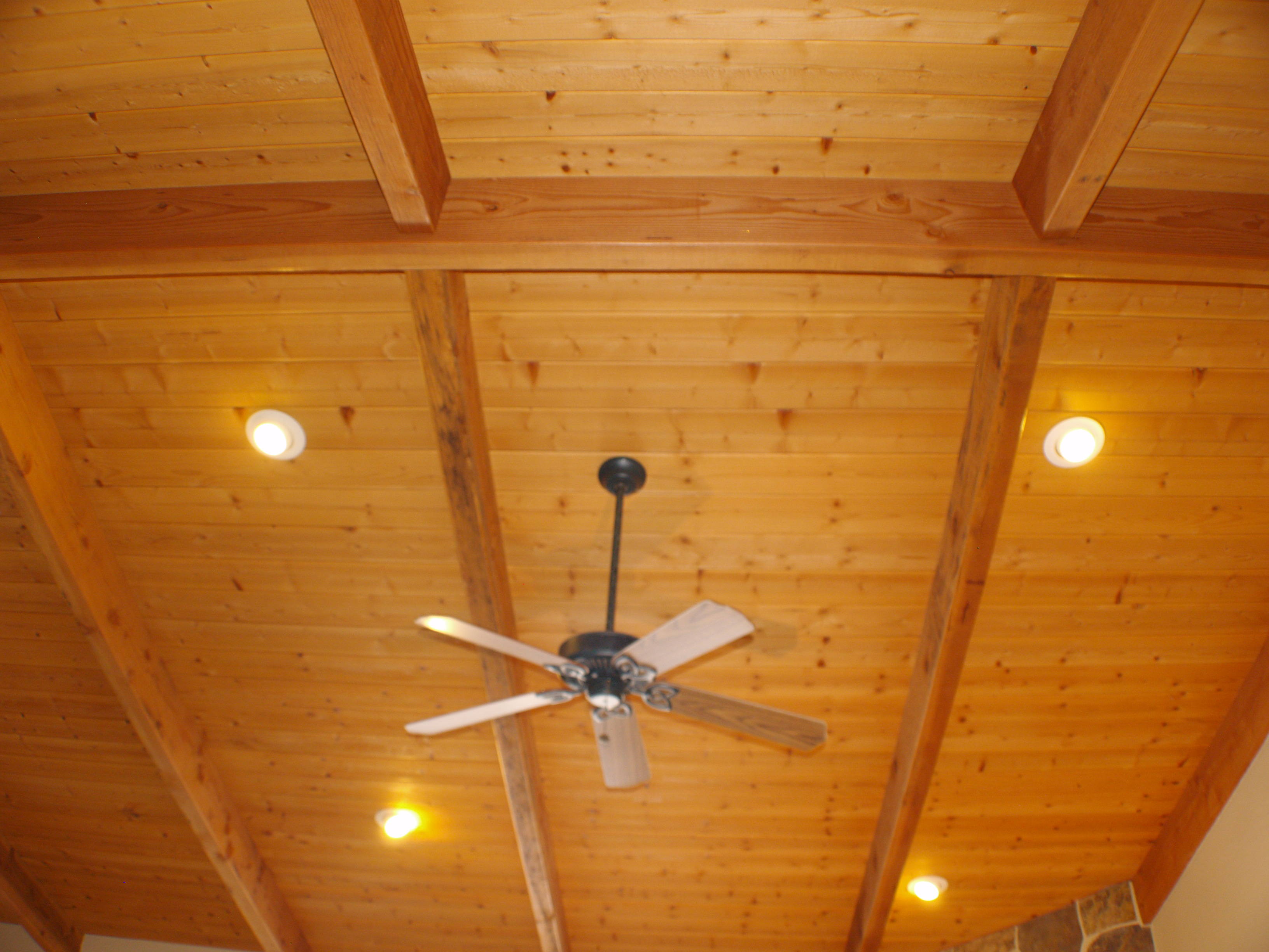 Featured Image of Wooden Ceiling Panel With Ceiling Fan And Lighting