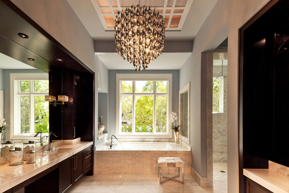 Deluxe Crystal Chandelier Bathroom Lighting (Image 2 of 10)