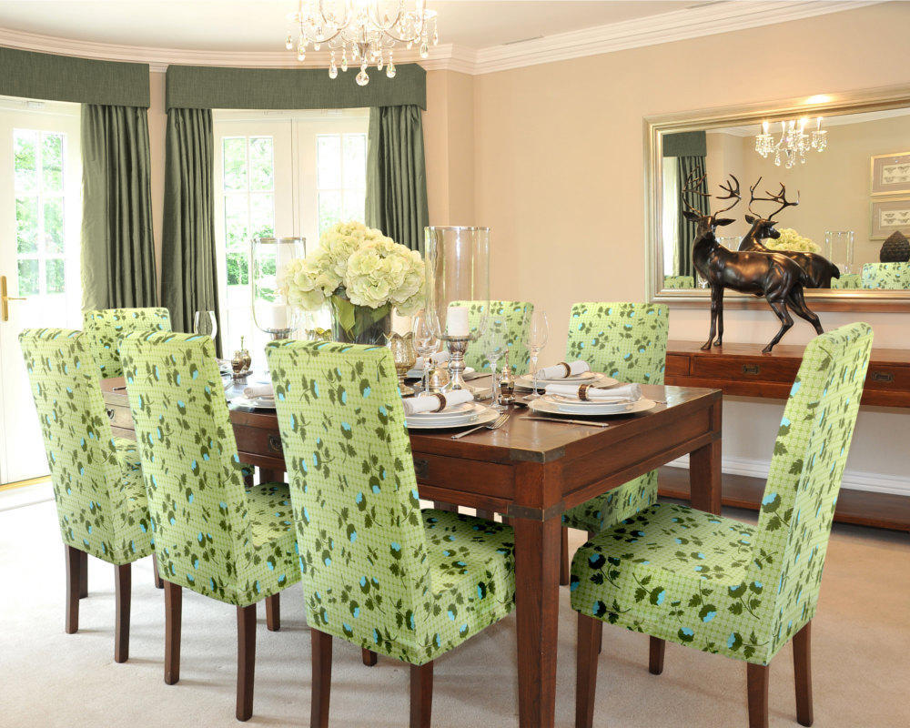 Fresh And Beauty Green Parsons Chairs For Dining Room With Wooden Table (Image 4 of 8)