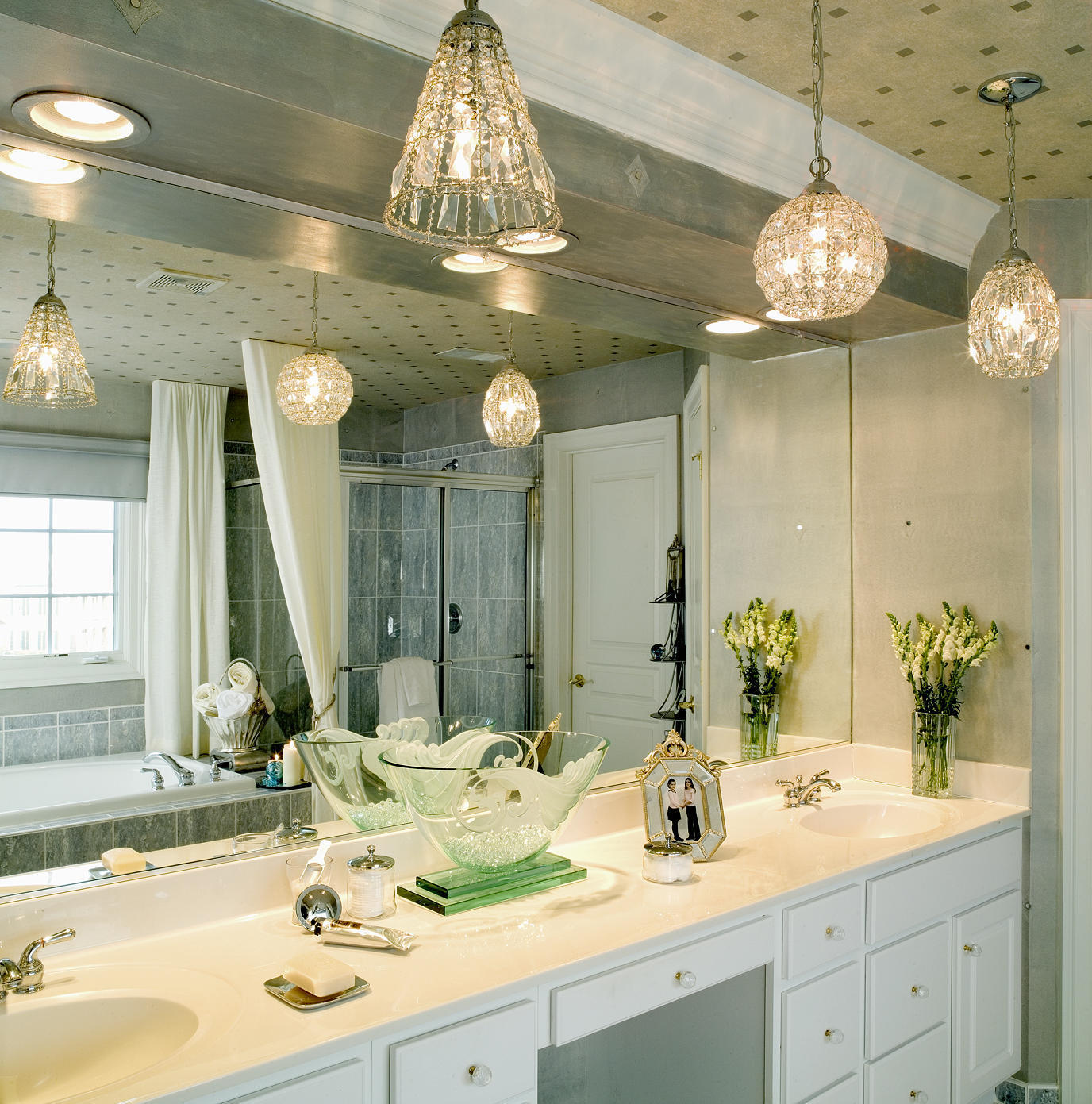 Modern Bathroom Ceiling Crystal Light (Image 5 of 10)
