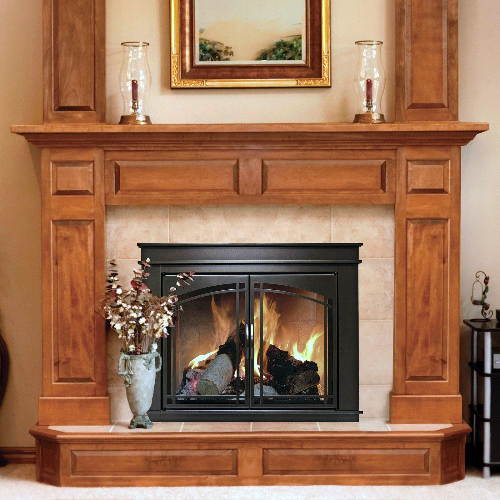 Modern Fireplace Screen With Wood Doors (Image 8 of 13)