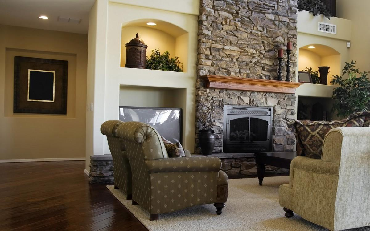 Traditional Stone Fireplace Screen With Doors (Image 13 of 13)