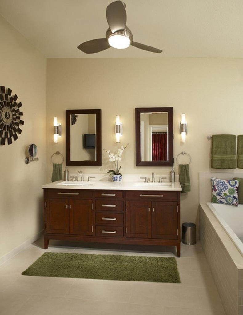 Vintage Bathroom Ceiling Fan And Lighting Combination (Image 10 of 10)