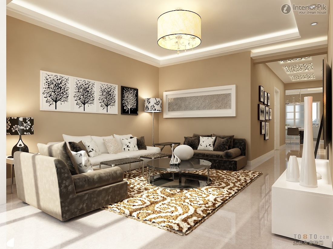 Featured Image of Brown White Colour Combination Contemporary Living Room