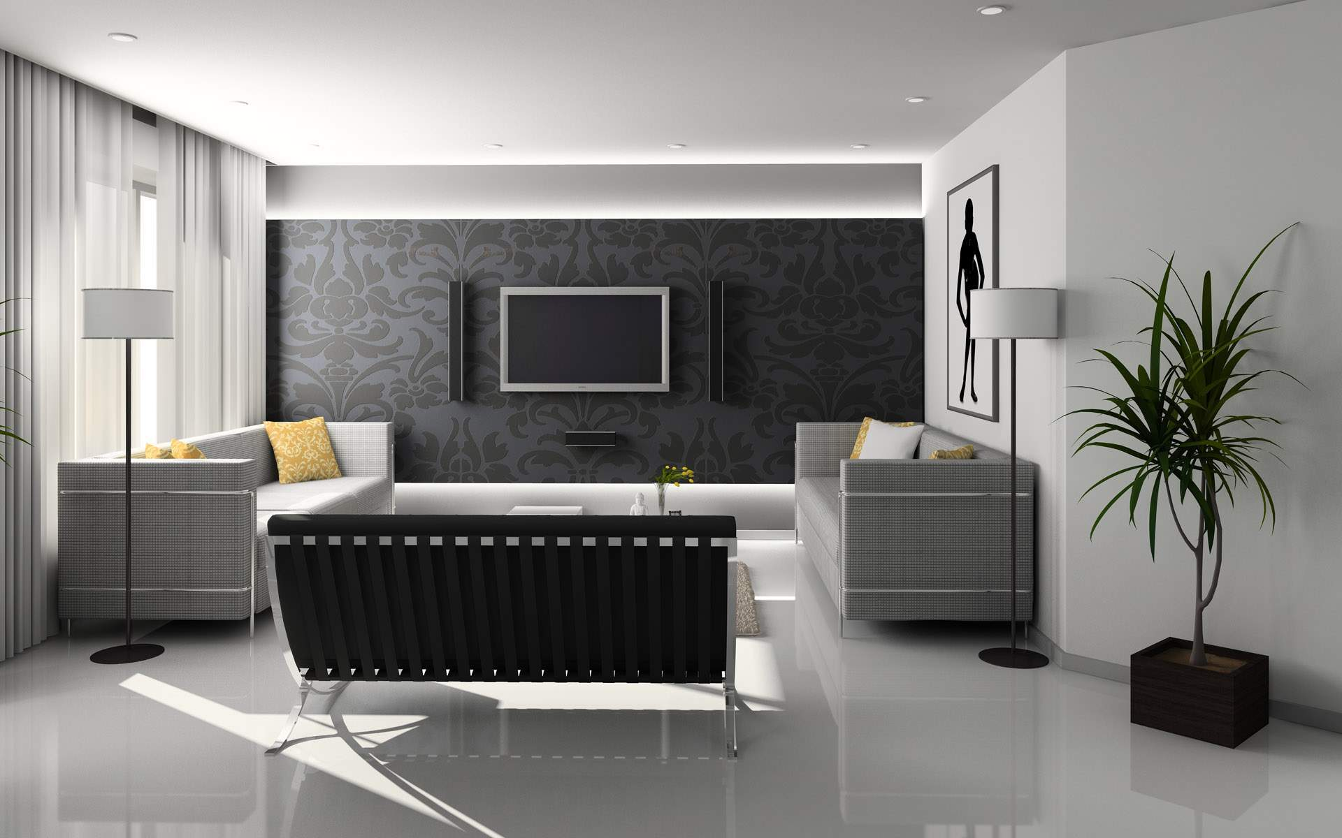 Featured Image of Stylish And Futuristic Living Room Design Concept