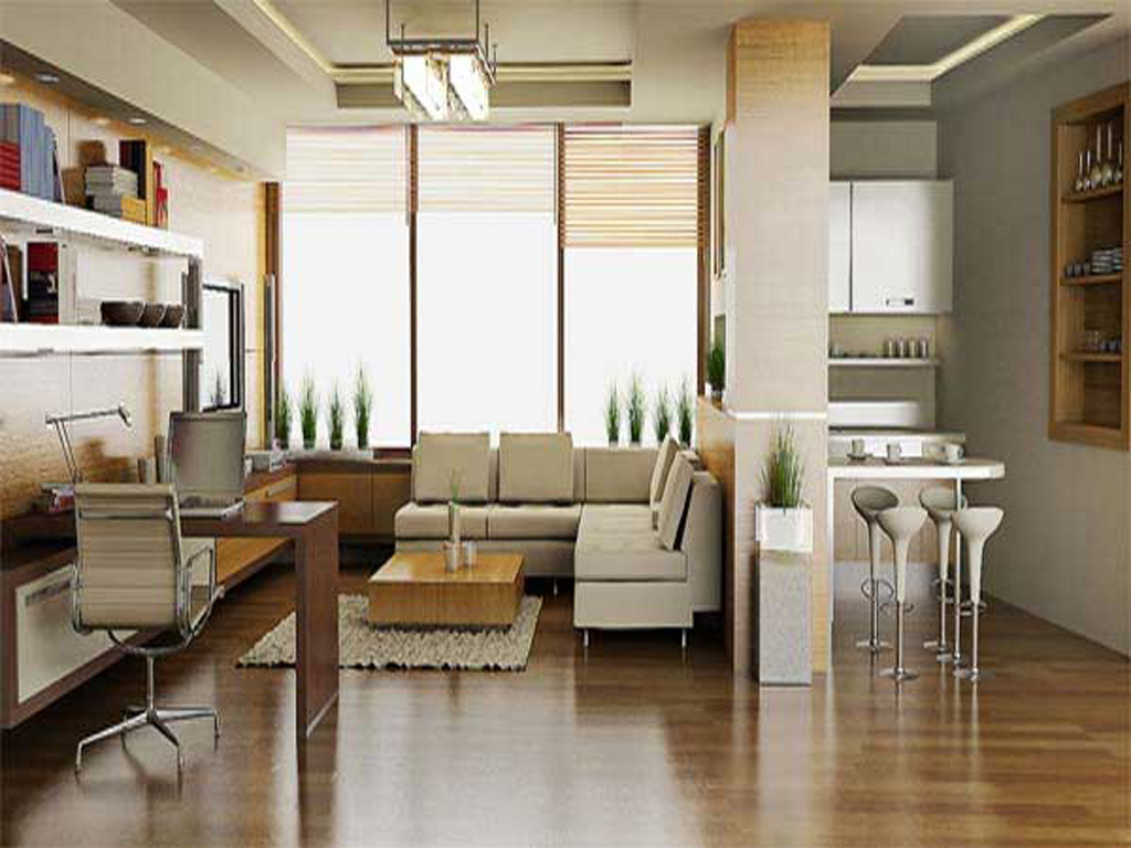Featured Image of Stylish Living Room And Home Office Interior For Apartment