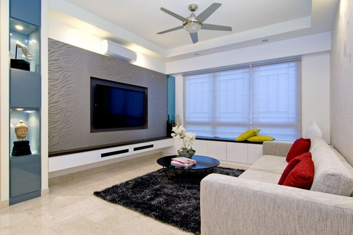 stylish living room apartment with carpet and ceiling fan #3472