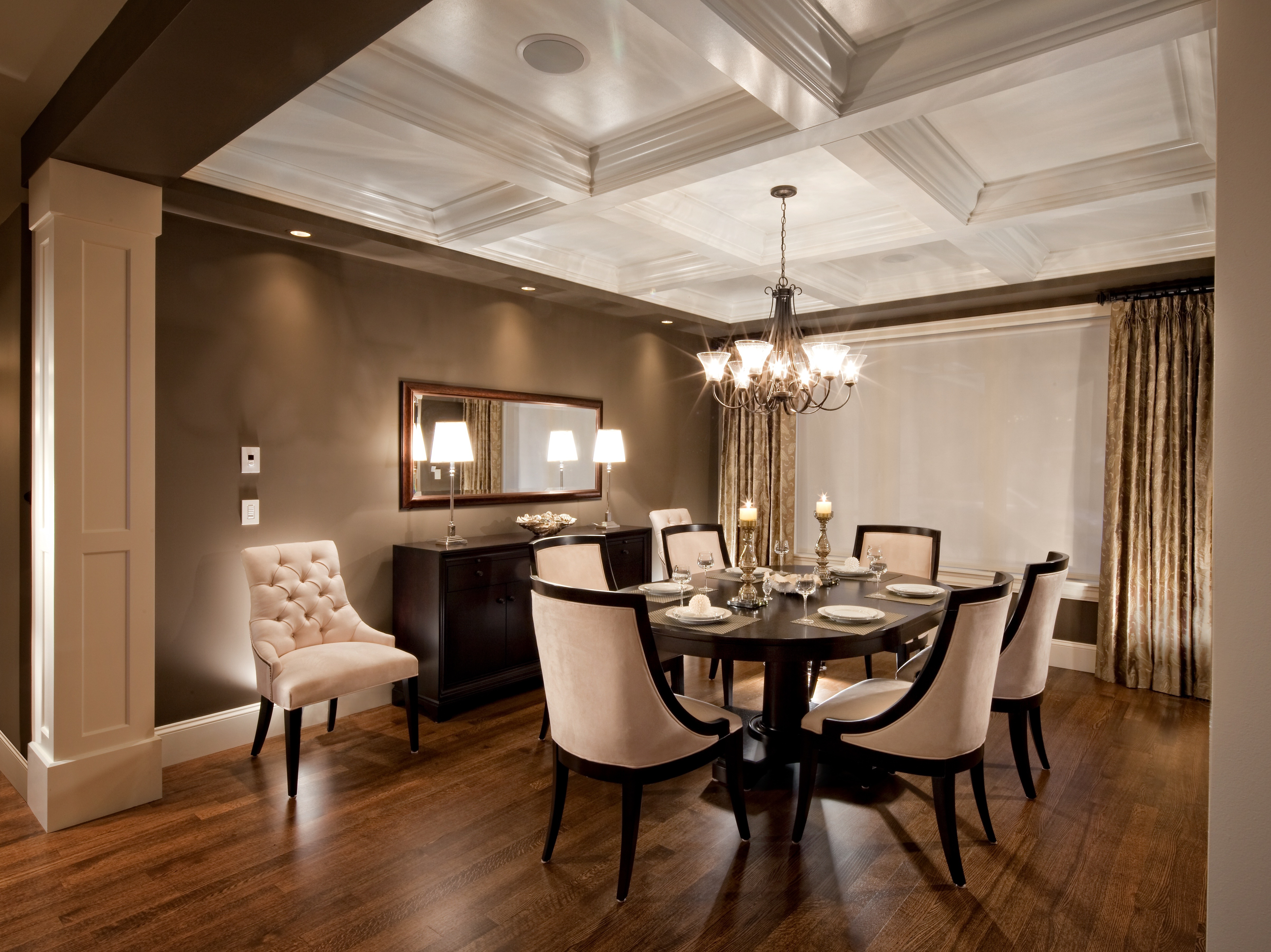 Formal Dining Room With Coffered Ceiling And Elegant Cream Dining Chairs (View 23 of 30)