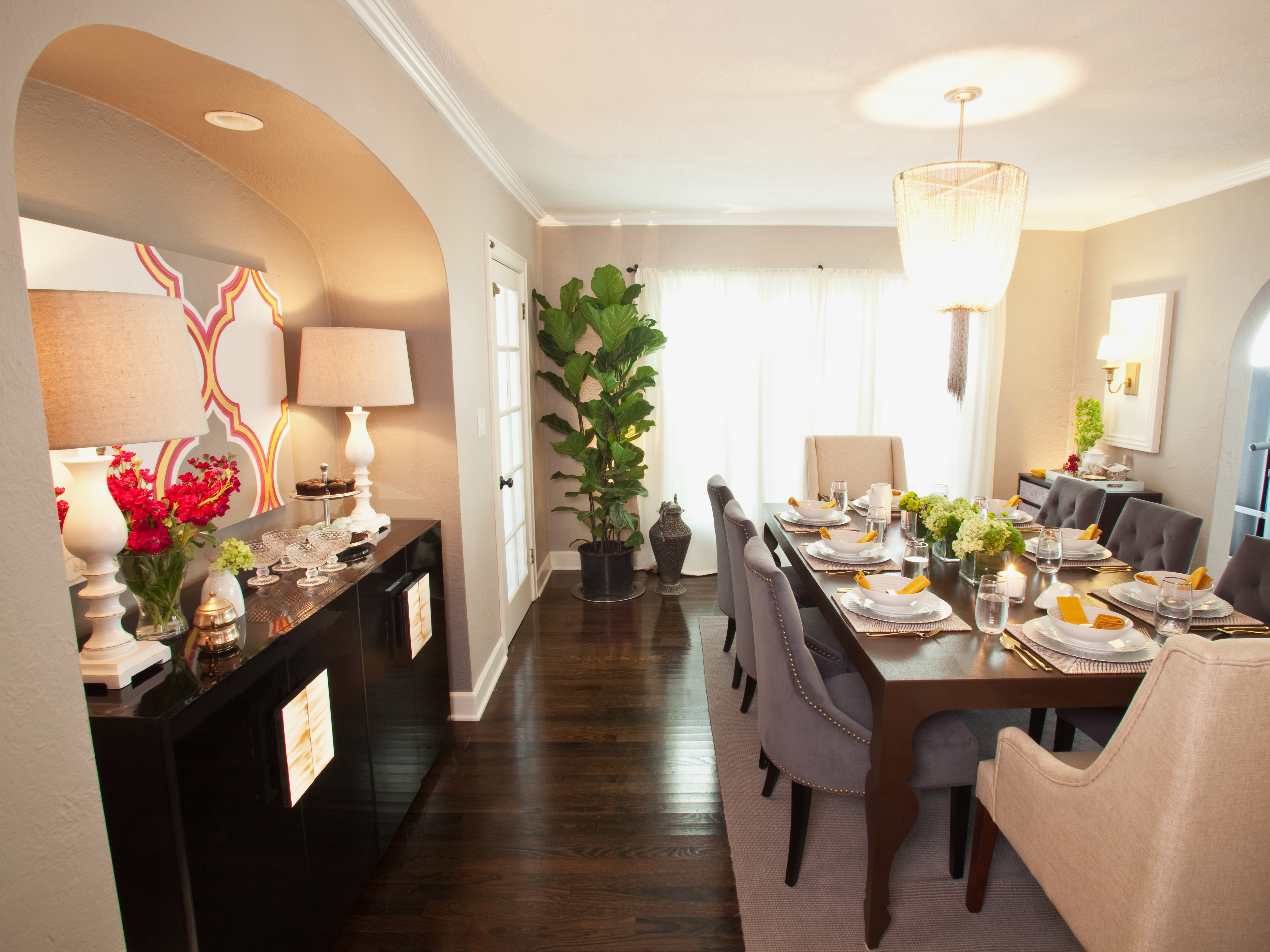 Formal Dining Room With Sleek Black Buffet (View 29 of 30)