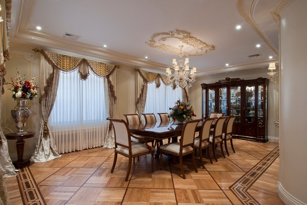Classic Formal Dining Room With Elegant Curtains (Image 6 of 30)