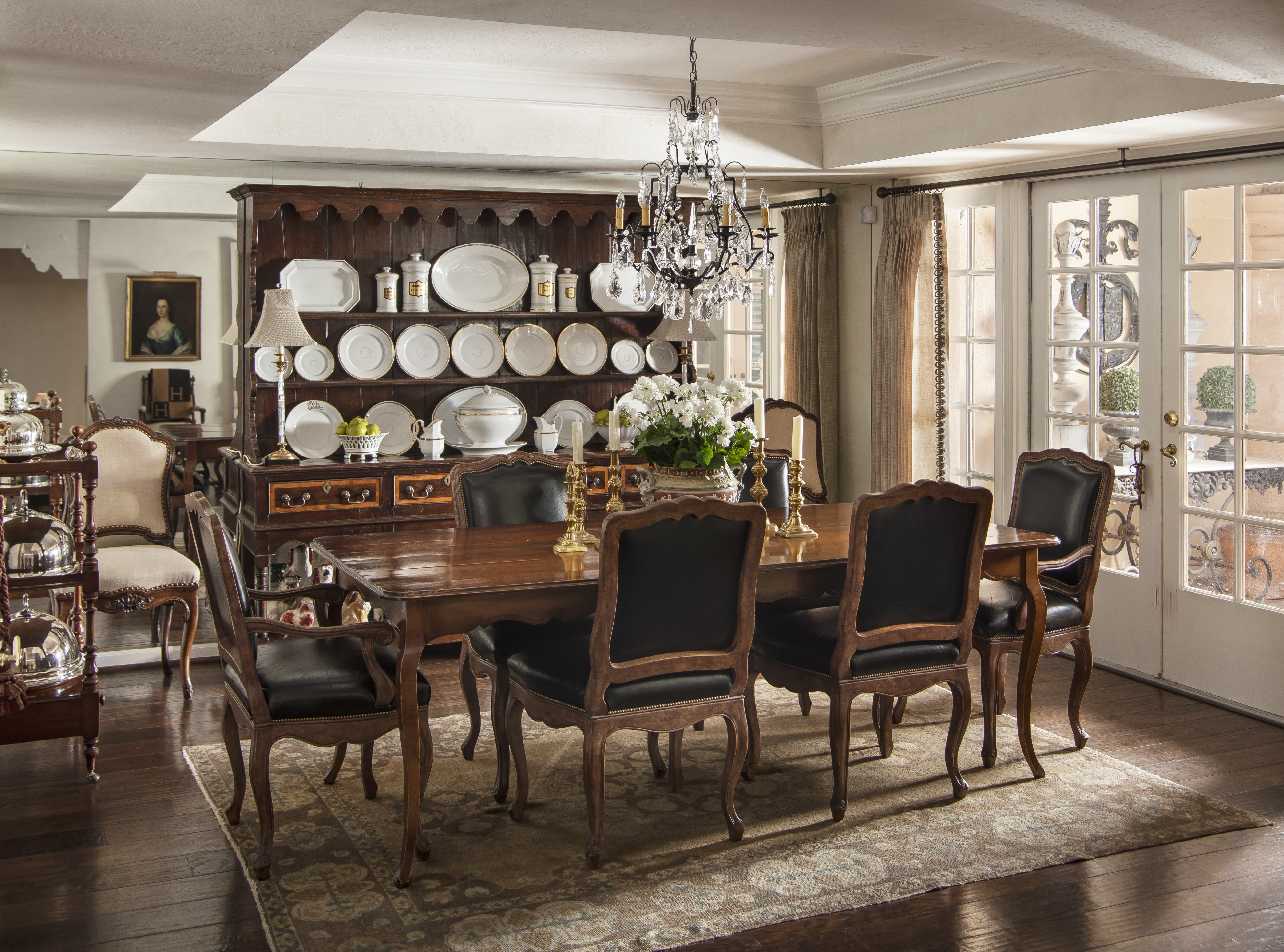 Classic Formal Dining Room With Wooden Furniture And Buffet Set (View 30 of 30)