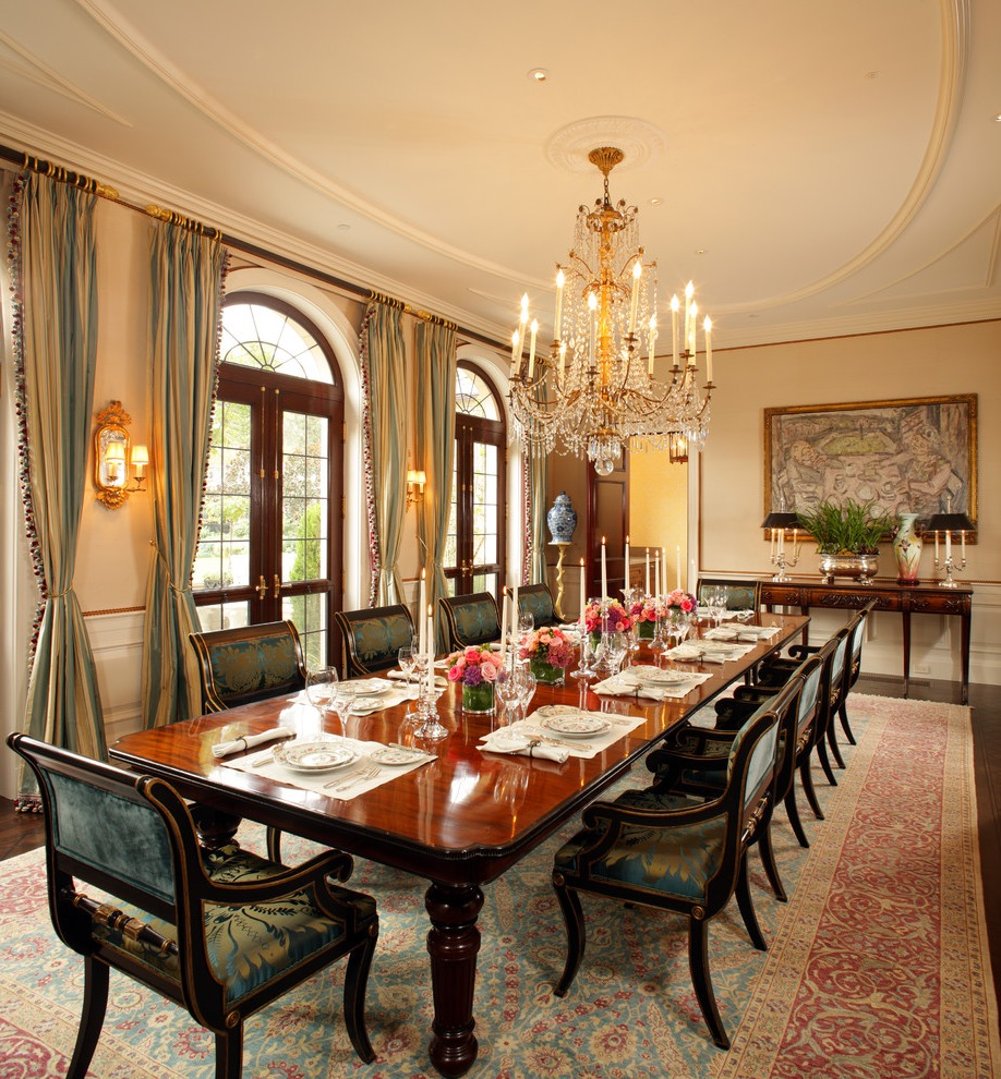 Classy Formal Dining Room With Long Wood Table And Chairs (Image 8 of 30)