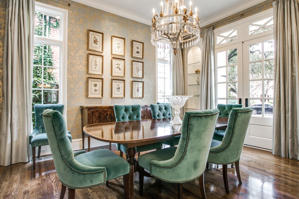 Formal Dining Room With Elegant Crystal Chandelier And Traditional Table And Buffet (Image 17 of 30)