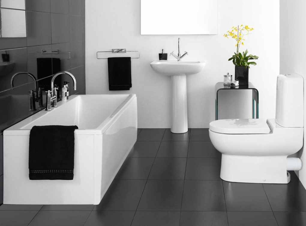 Featured Image of Black White Bathroom Simple Design Ideas