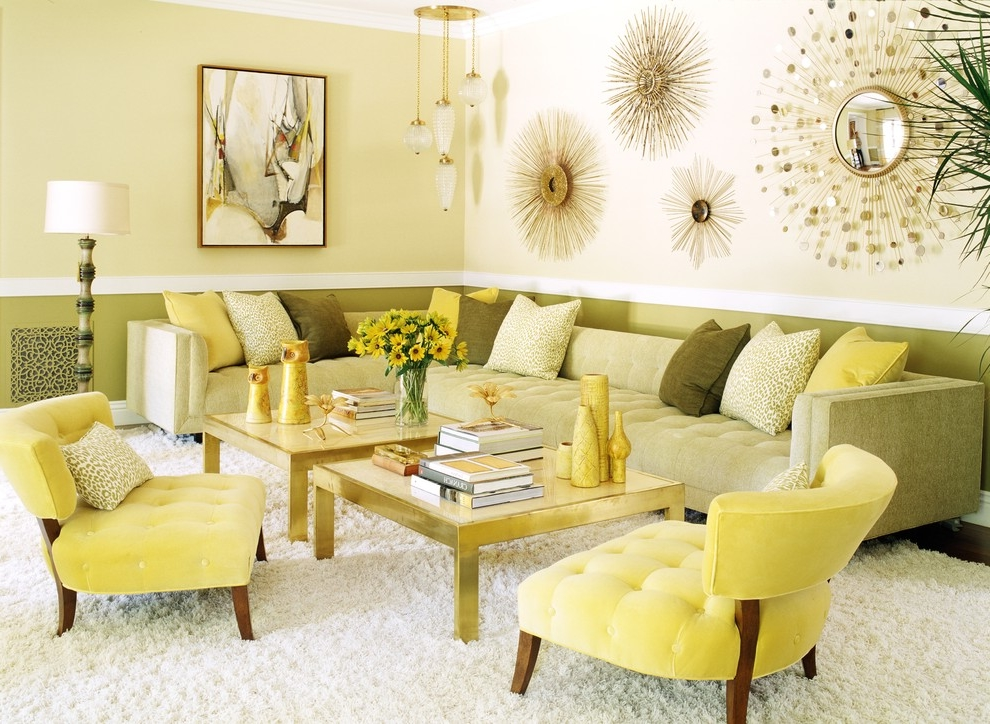 Cozy Modern Living Room Color Scheme With Artistic Wall Decoration (View 3 of 11)