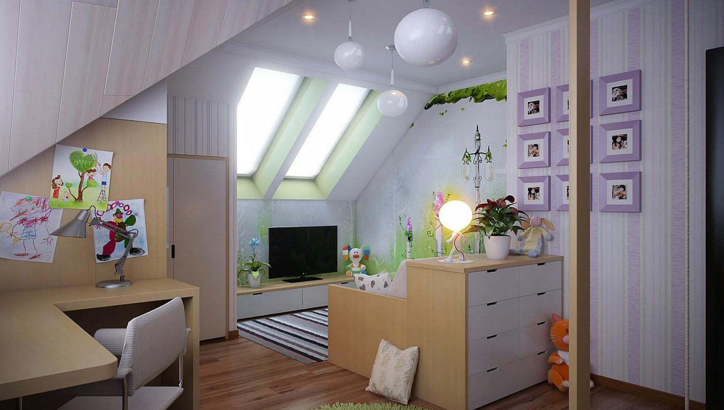 Featured Image of Cute And Fresh Attic Living Room Interior
