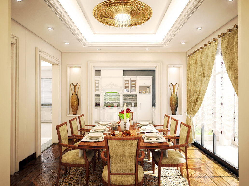 Featured Image of Deluxe American Dining Room In Classic Shade