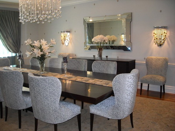 Beautiful Deluxe Dining Room Furniture With Crystal Chandelier
