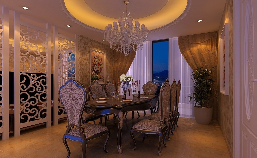 Luxury European Dining Room With Crystal Chandelier 8267