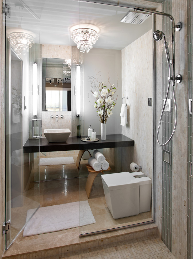 Luxury Small Bathroom With Crystal Chandelier 7599