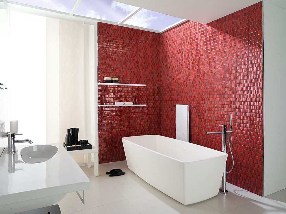 Featured Image of Minimalist Bathroom With Decorative Ceramic Wall