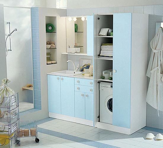 Featured Image of Modern Blue Small Laundry Design Ideas