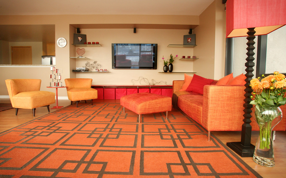 Modern Living Room Color Scheme With Orange Sofa And Carpet (View 7 of 11)