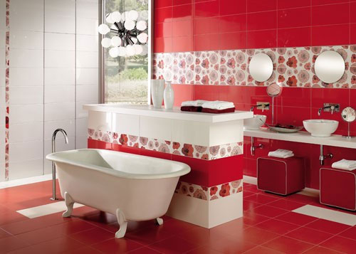 Featured Image of Red Retro Bathroom Design Ideas