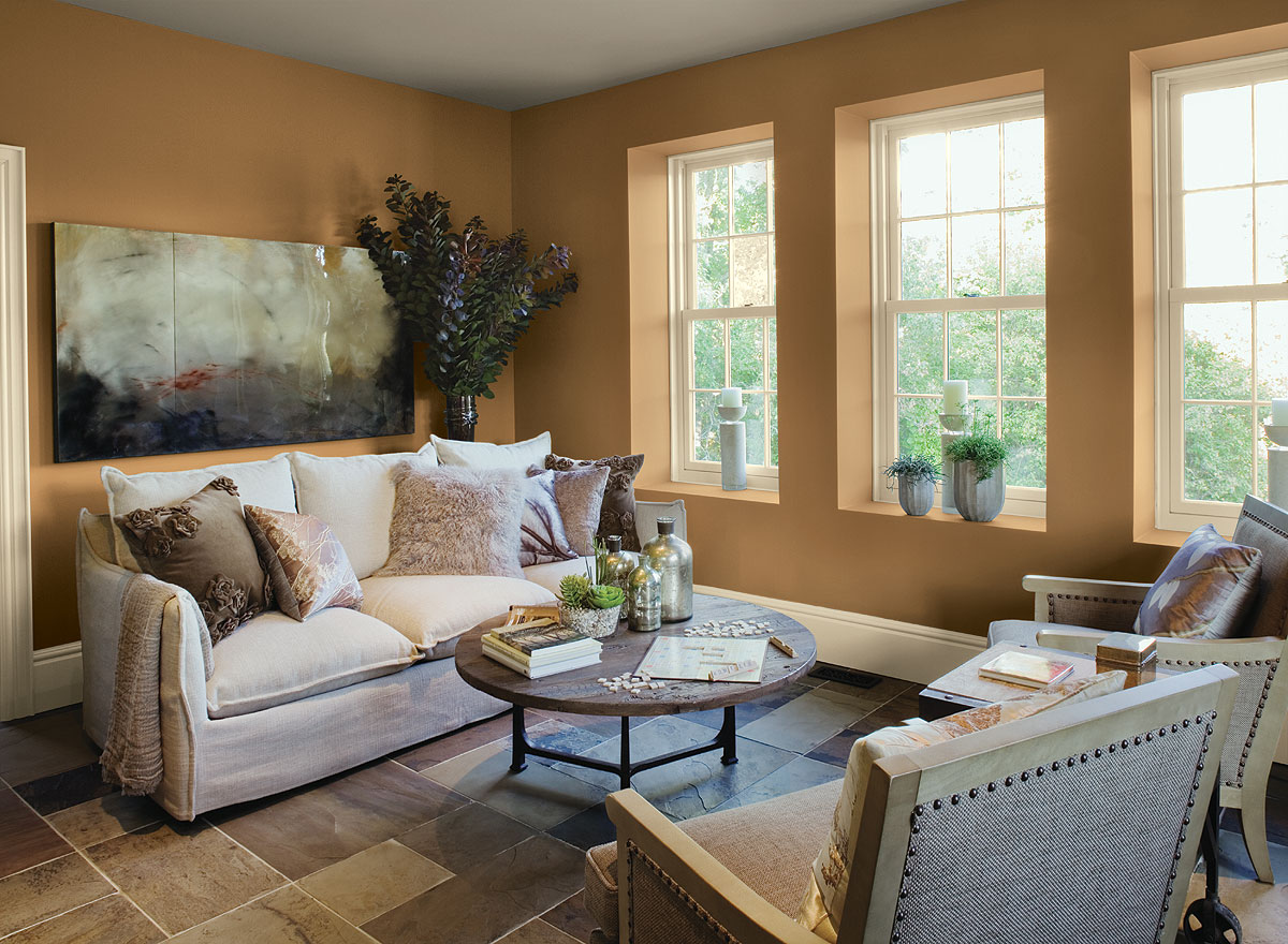 Traditional Living Room Color Scheme With Brown Wall Color (View 8 of 11)
