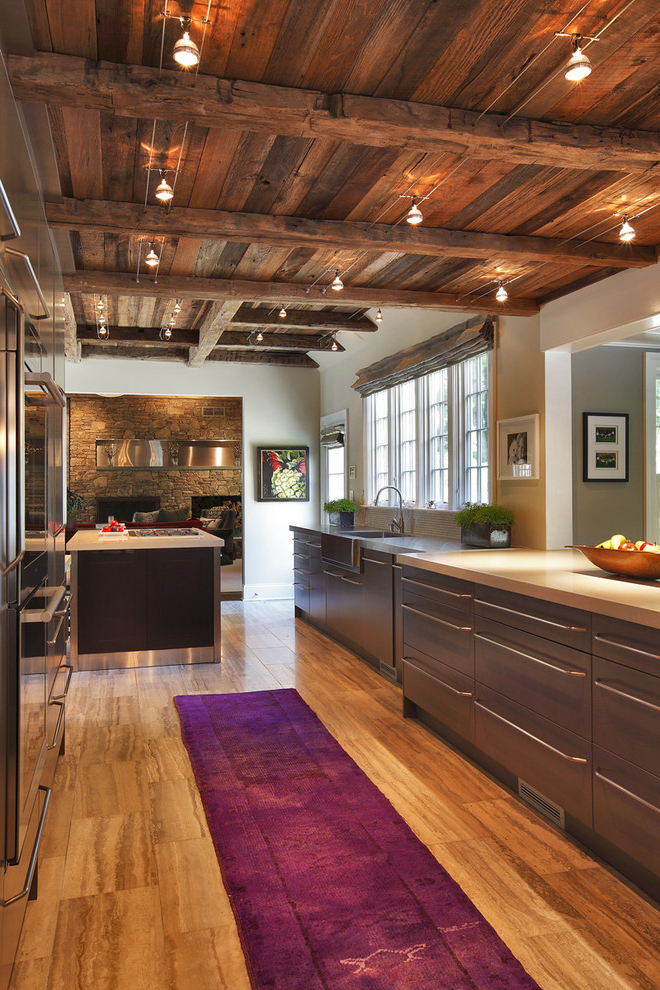Unique Kitchen With Wooden Ceiling (Photo 1 of 1)