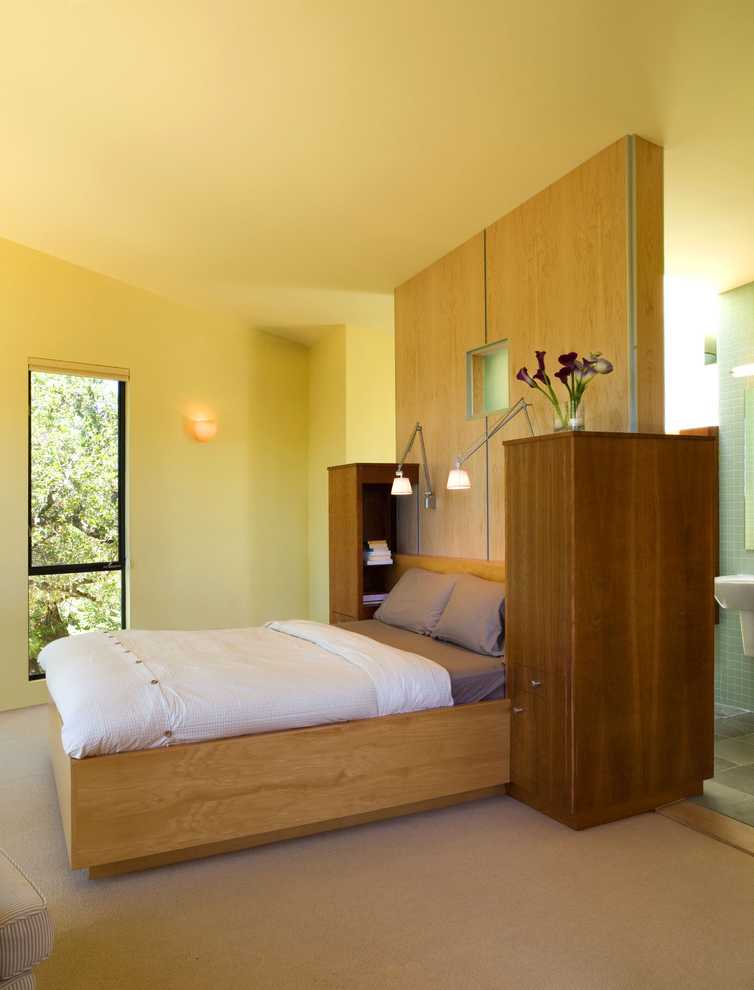 Featured Image of Wooden Bedroom Interior With Bathroom