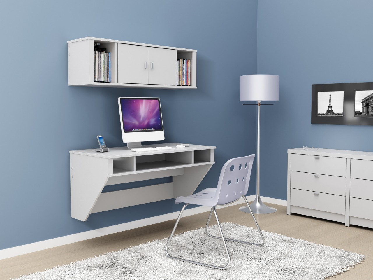 Featured Image of Floating Computer Desk Design Ideas Showcasing Pure White Wooden Desk