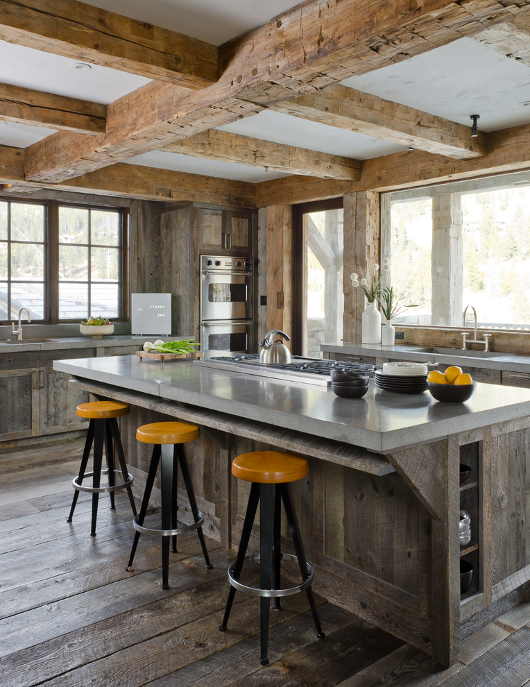 2017 Rustic Kitchen With Distressed Cabinets And Stainless Steel Appliances Combined With An Integrated Sink And Shaker Cabinets (Image 1 of 19)