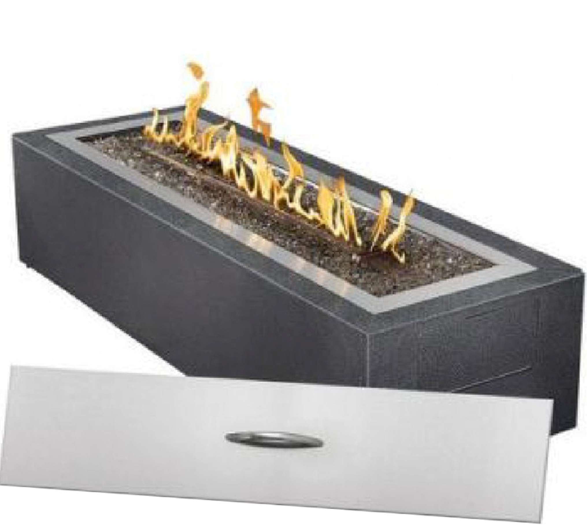 Accessories Exciting Furniture For Outdoor Living Room Decoration Using Rectangular Dark Grey Modern Gas Fire Pit Modern Gas Fire Pit For Your Outdoor And Backyard Decor (Image 4 of 28)