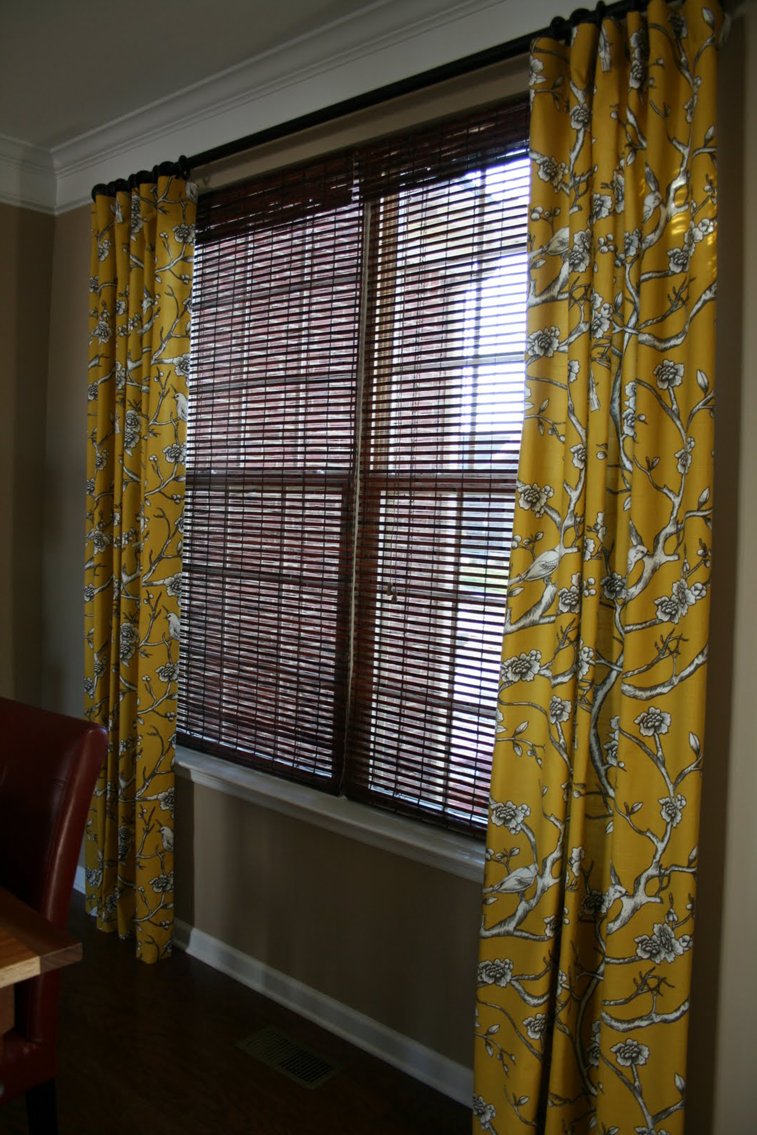 Accessories Top Notch Window Treatment Decoration Using Porch Bamboo Blind And Yellow Pattern Curtain Incredible Window Treatment Ideas Using Porch Bamboo Blinds (Image 9 of 28)