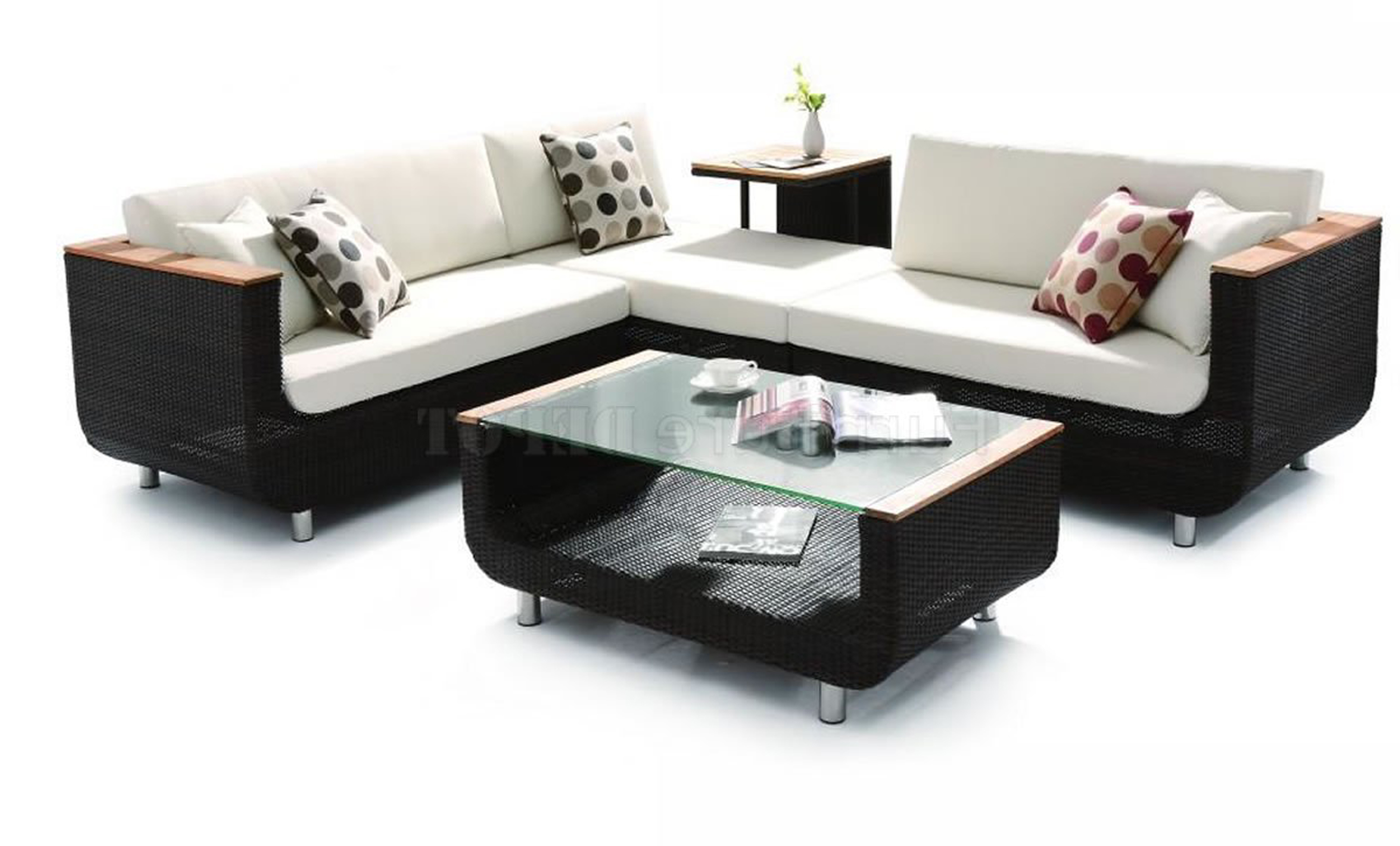 Amazing Modern Outdoor Design Idea With White Sofa With Gray Polka Dot Throw Pillows And Glass Coffee Table Impressive Modern Outdoor Design Ideas (View 18 of 28)