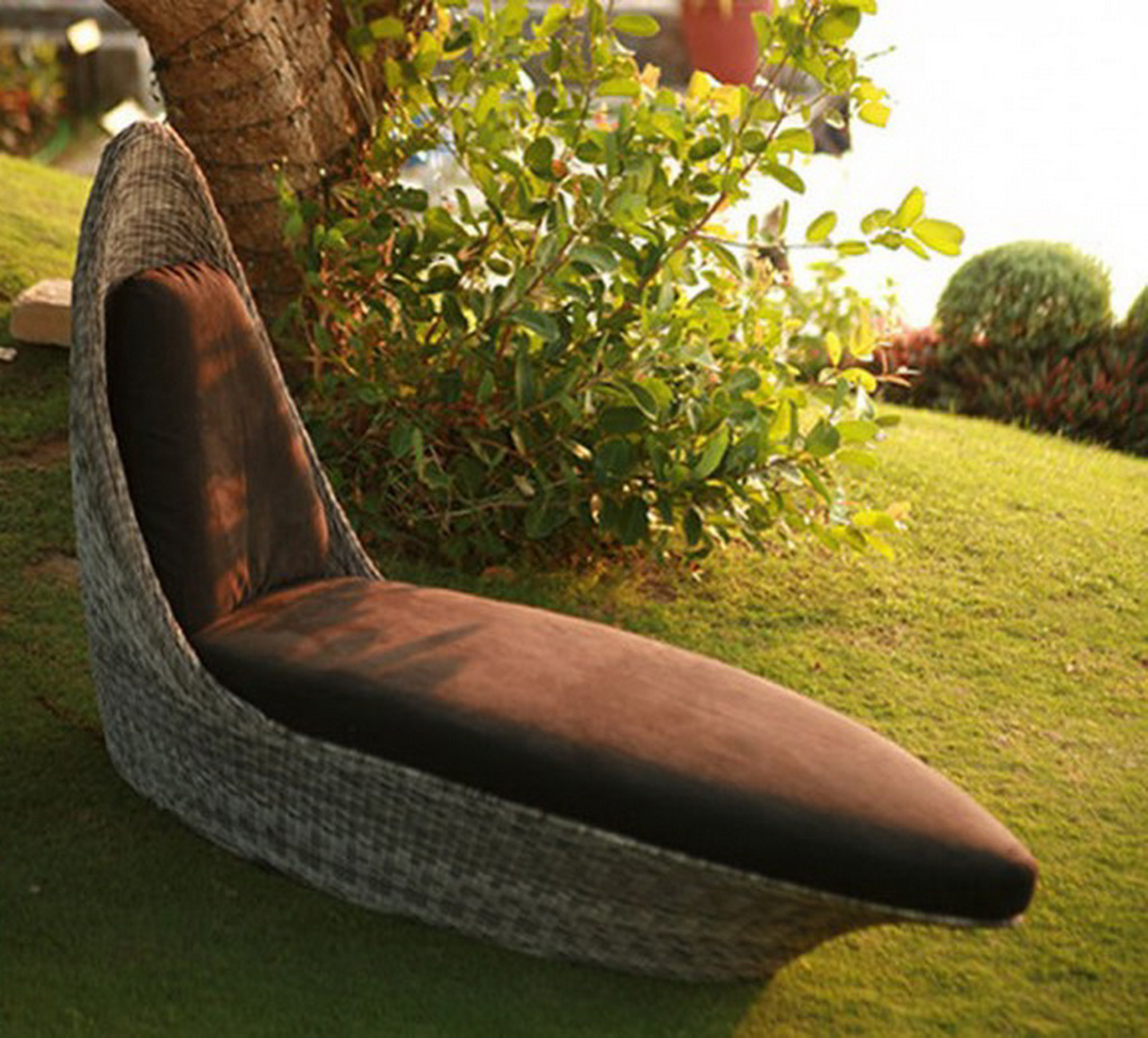 Amazing Outdoor Modern Wicker Lounge Chair Design Idea In Brown With Chocolate Seat Cushion Remarkable Outdoor Modern Wicker Ideas (View 2 of 28)