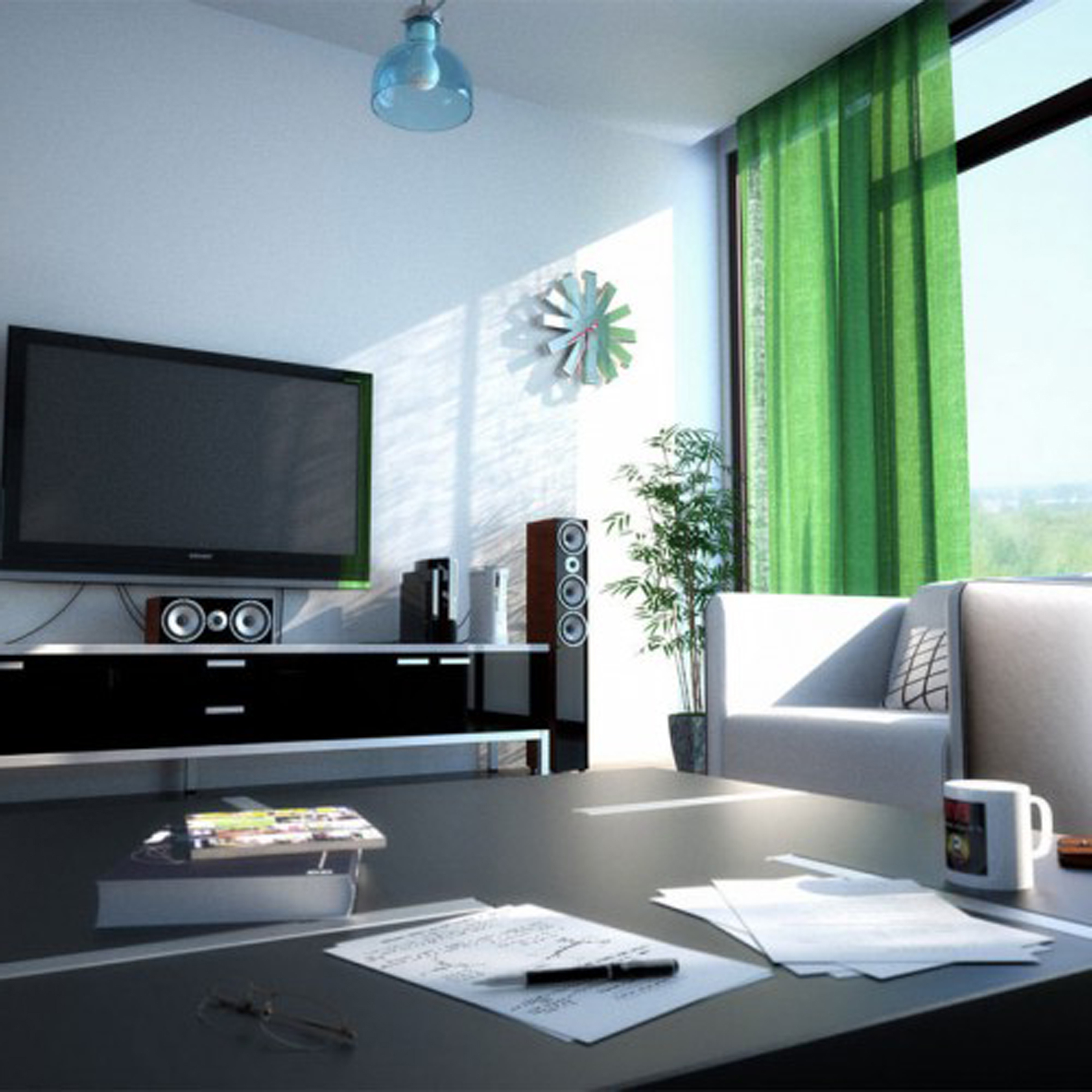Apartment Living Room Design With Trendy Black Shelf Design Even Tasteful Green Window Curtain (Image 5 of 45)