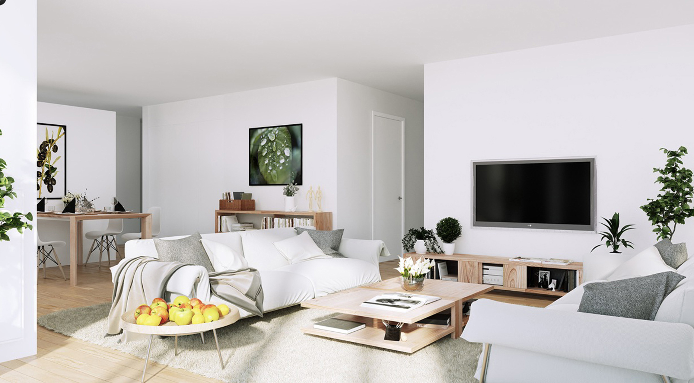 Apartment White Living Entertainment With Organic Green And Wooden Accents And White Modern Sofa (Image 10 of 45)
