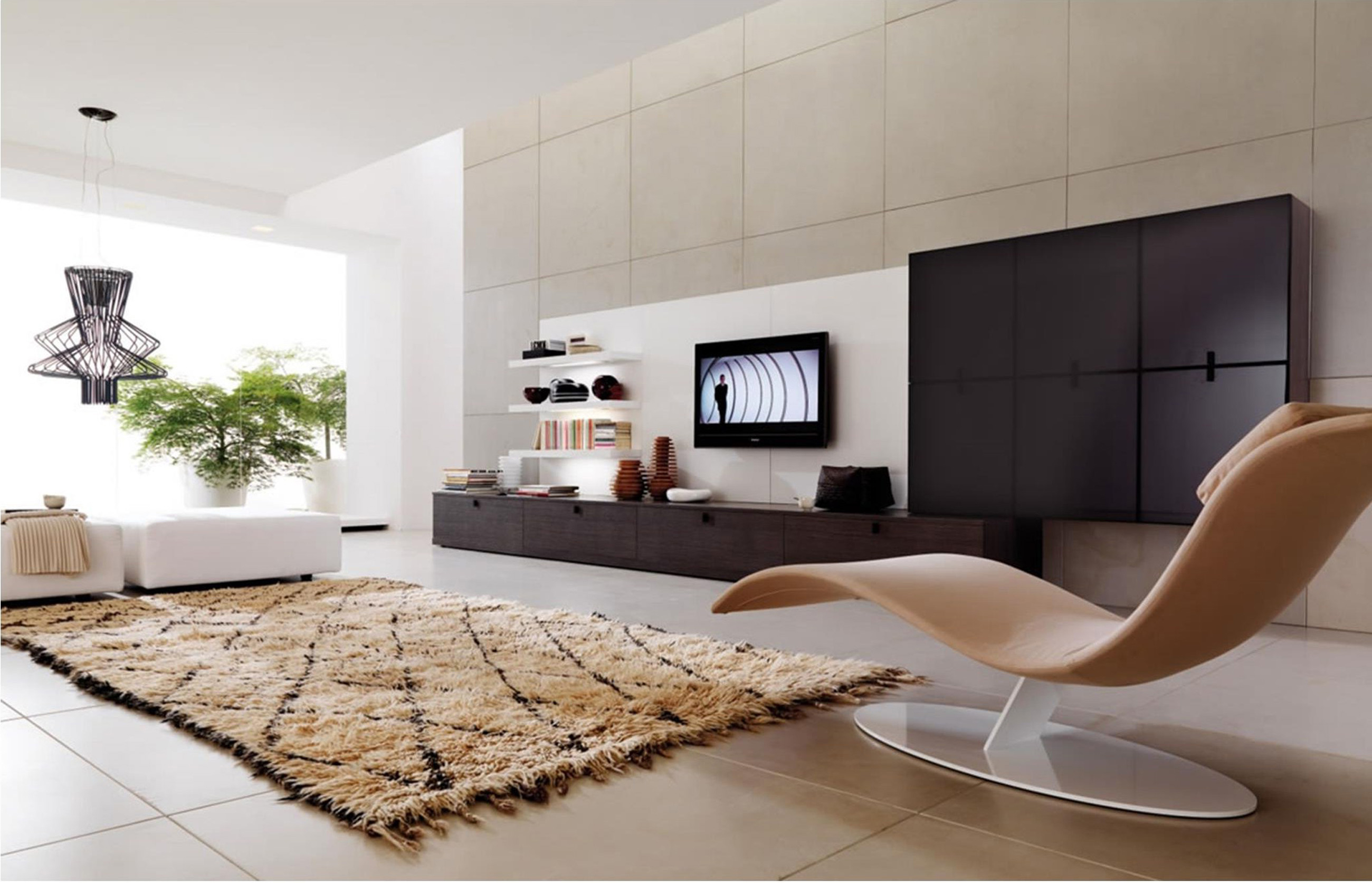Apartments Cape Swivel Chair With Rug With White With Black Shelvie With Tv Mount (Image 13 of 45)