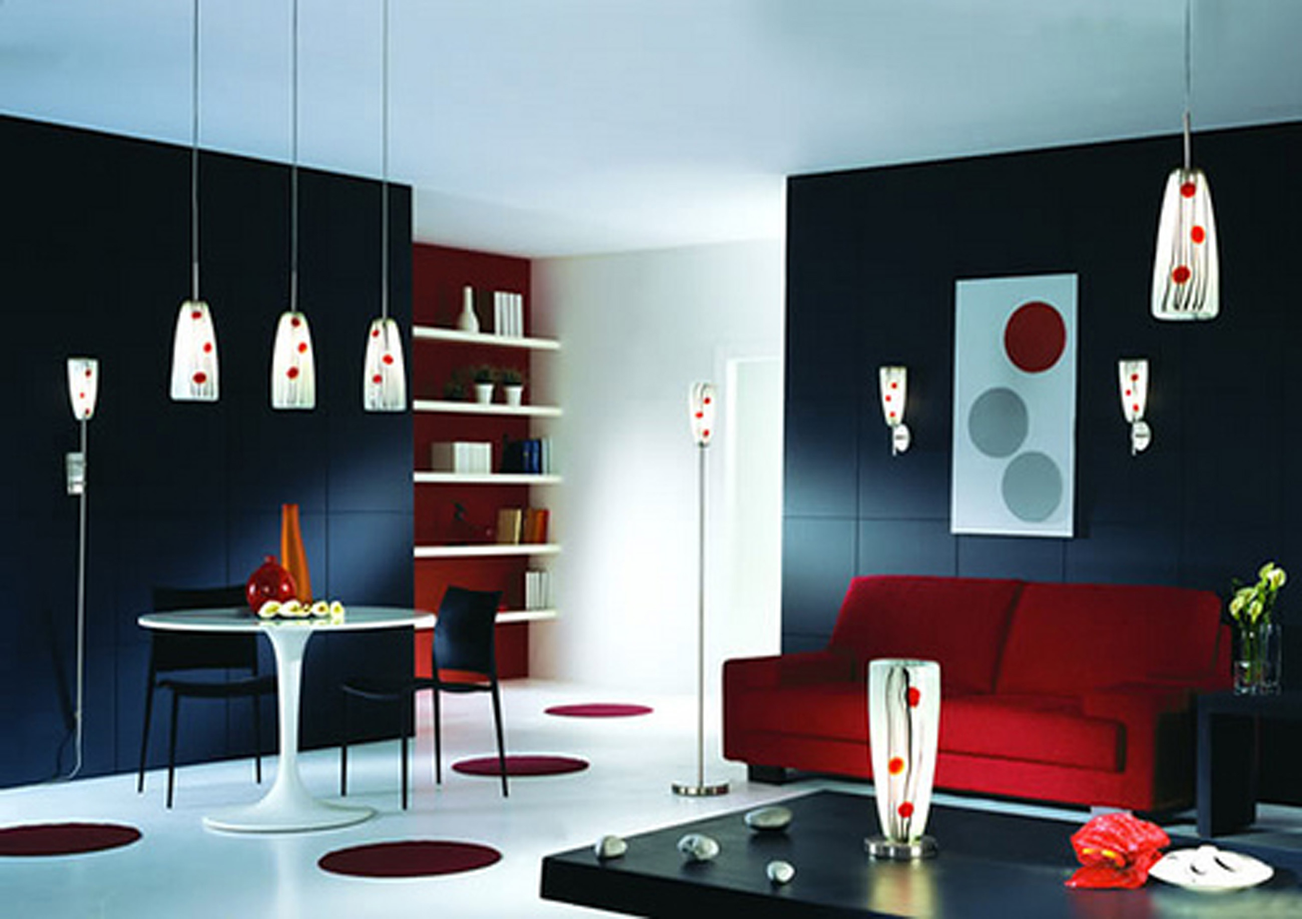 Apartments Decor Of Simple Design Ideas With Black Wall With Red Sofa Combined Black Table (Image 19 of 45)
