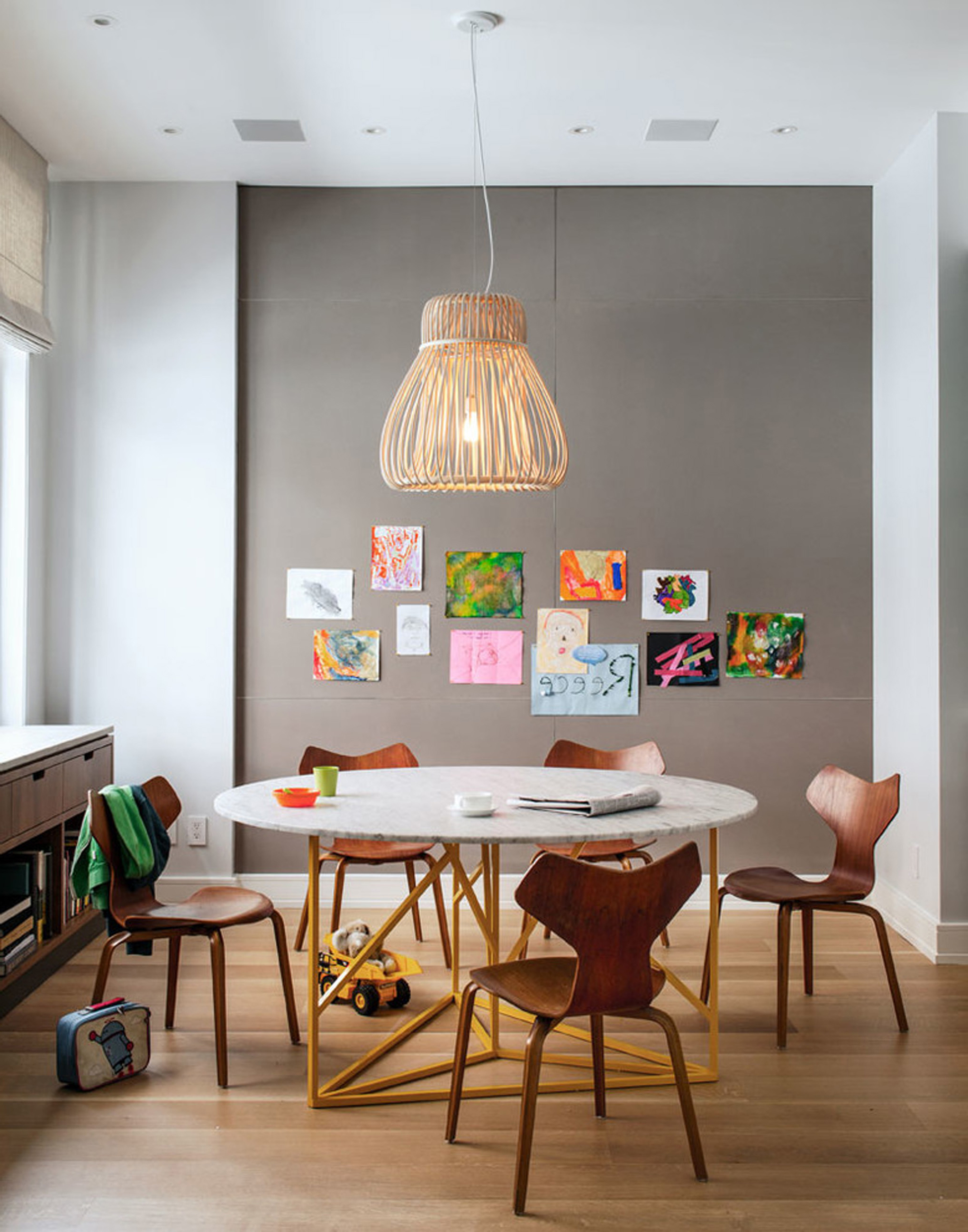 Apartments Decor Of Simple Kids Art Tables Ideas In Kids Contemporary Design Ideas With Drum Pendant Gray Bulletin Board Wall Kids Listed In Artistic Farmhouse Table Design Ideas (Image 28 of 45)