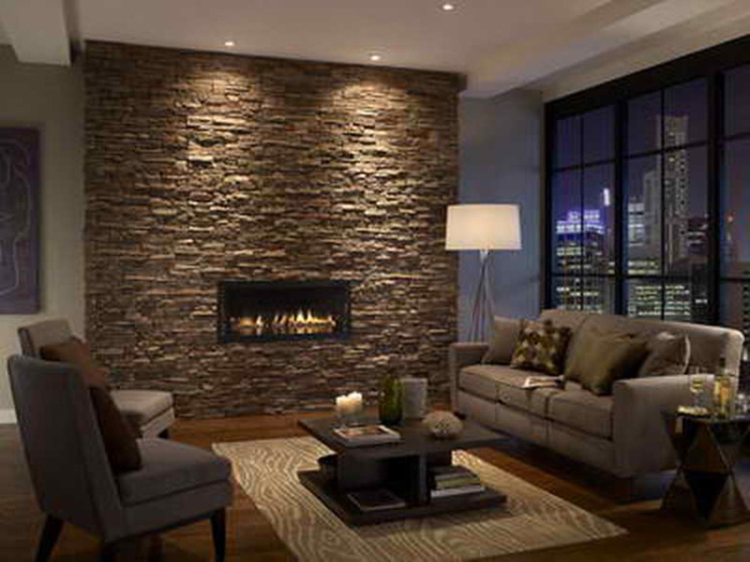 Apartments Decor Of Simple Stone Tile Fireplace With Wooden Flooring Featuring Recessed Ceiling Lights With Cozy Sitting Set Complete With Floor Lamp With Unique Coffee Table (Image 31 of 45)