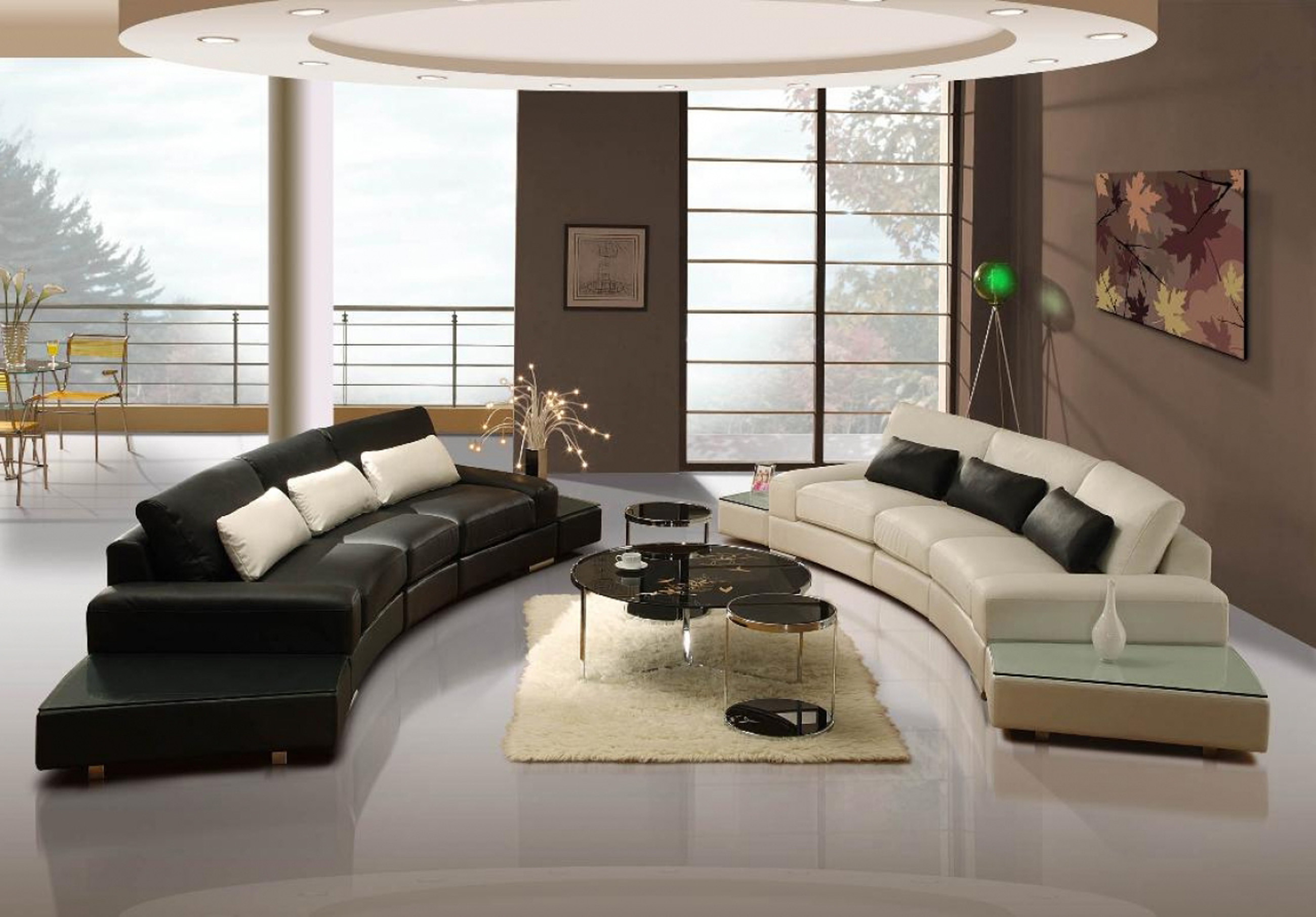 Apartments Decor Of Simple Tone With Black With White Two Curve Sectional Sofa (Image 32 of 45)