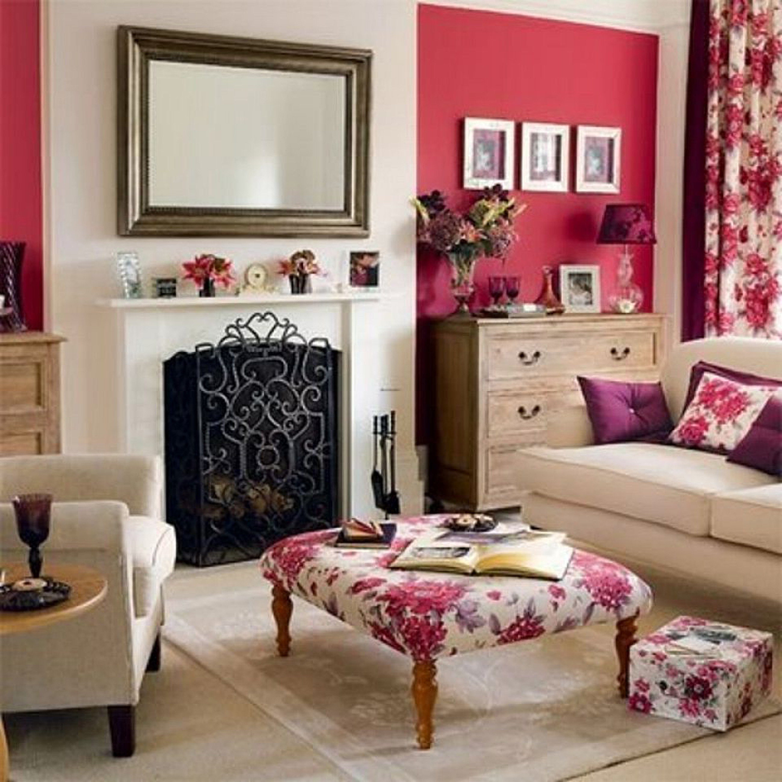 Apartments Decor Of Simple White Sofa Fireplace With Pink Wall (Image 34 of 45)